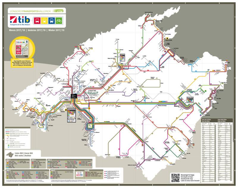 Busse und Bahnen Karte Mallorca